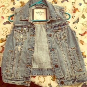 Abercrombie and Fitch Distressed Denim Vest Size S